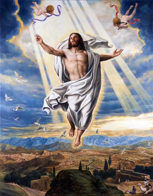 Jesus ascension cupid god Stock Art Image